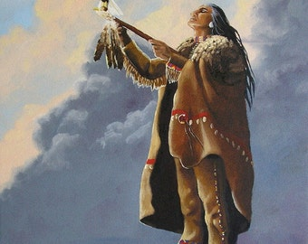 PEACE PRAYER giclee print eagle Native American Indian warrior spiritual