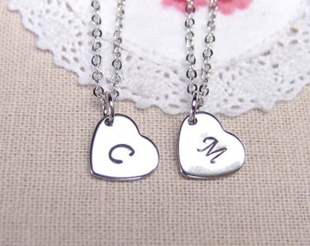 2 Best Friend necklaces, initial heart necklace, sister necklace set, mother daughter jewelry, simple personalized jewelry, monogrammed gift