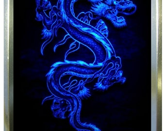 Blue dragon design 2oz gold tobacco tin,pill box,storage tin