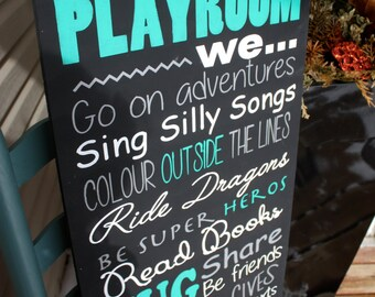 Playroom rules sign, Wood Sign, toy room decor, day care wall art, Hand painted, childrens home decor sign, kids accents, home and living