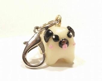 Glow in the dark pug key chain