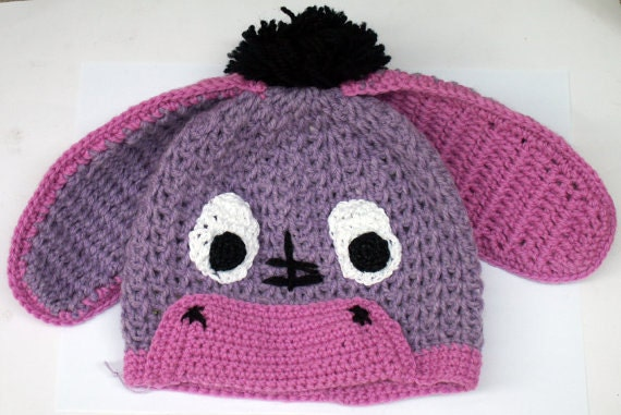 Knitting Pattern For Donkey Hat : Items similar to Purple donkey crochet children hat ...