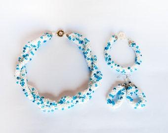 Weightlessness.Bead Crochet Rope . Necklace . Bracelet . Metallic .Earring. Shining blue