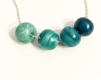 Ombre Bead Necklace // Polymer Clay Bead Necklace