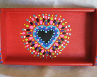 Handpainted Red Heart Tray