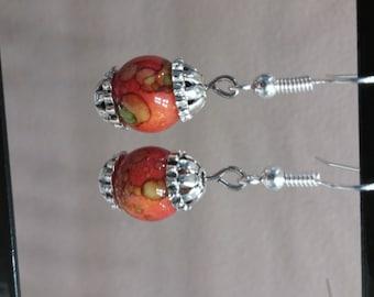 Speckled Bead Dangle Earrings