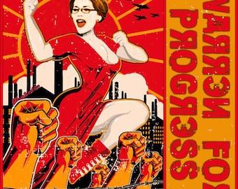 Elizabeth Warren for Progress! Faux vintage Soviet propaganda-styley women's T-shirt