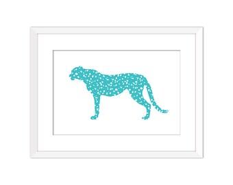 Cheetah - Turquoise - Wall Art - Animals - 8x10 - 5x7