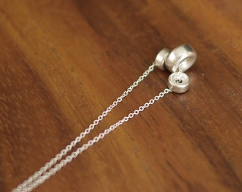 Sterling silver rounded disc bead necklace