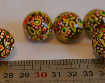 Painted wooden bead