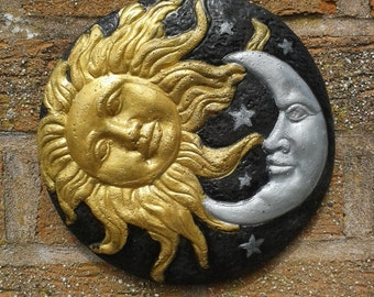 Sun and Moon Garden Wall Plaques - Hand Cast & Painted Frost Proof Astrology Zodiac