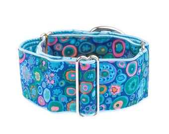 1.5 inch martingale collar, martingale collar, greyhound collar, 1.5 inch, blue, adjustable,martingale collars