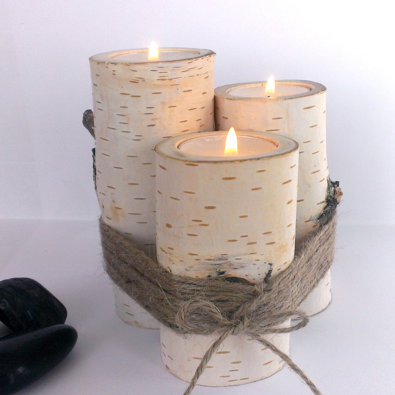 Wooden candle holders tree branch home decor