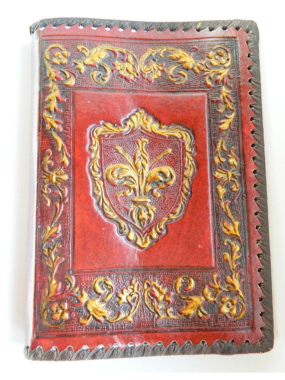 vintage hand tooled leather book cover fleur de lys italy