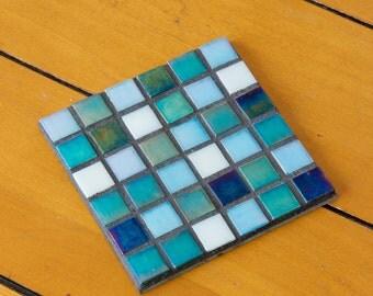 Handmade mosaic coaster blue