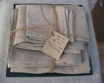 Linen Towels, set of 6 linen towels, hand made in the U.K.