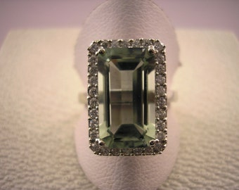 9ct White Gold Ring with Mint Green Quartz