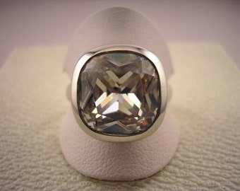 Sterling silver cubic zirconia ring.