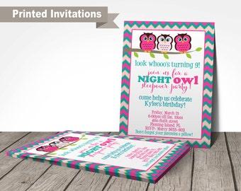 PRINTED owl invitations, sleepover invitation, night owl party invitation, customized wording, high quality printing, owl birthday party