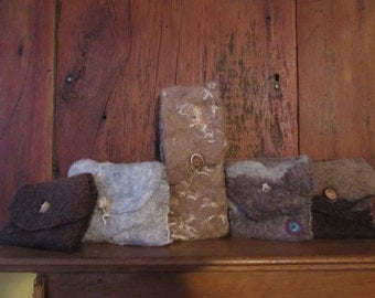 Felted wool accessories case for glasses, cell phone, camera, or art supplies.