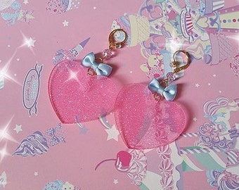 Sparkly Hearts Earrings~ ( Blue )