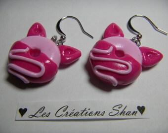 Piglet donut earrings