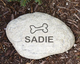 Personalized Name Dog Bone LARGE Engraved Pet Memorial Garden Stone