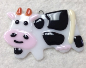Cow Fused Glass Ornament