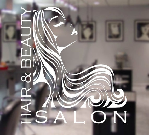 Items similar to Woman Hair Beauty Salon Window Sign Decal