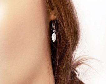 Tiny silver leaf earrings, Filigree leaf, Delicate leaf earrings, Fashion jewelry, Simple earrings