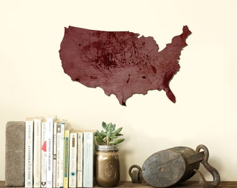 USA United States of America Wood Cut Out Silhouette Wall Art Decor House Warming