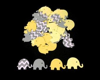 100 Assorted Yellow and Grey Elephant Confetti, Die Cut Elephant, Baby Shower, Elephant Theme Party, Elephant Décor, Elephant birthday party