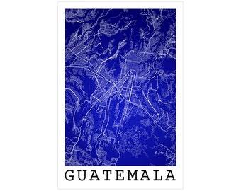 Guatemala City Street Map, Guatemala City Guatemala, Modern Art Print, Guatemala Decor, Guatemala Gift Idea, Guatemala City Street Map