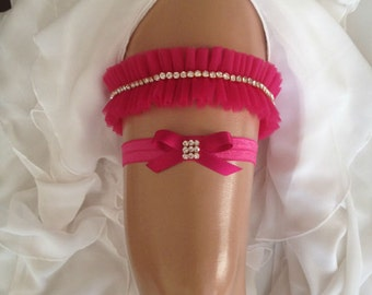 wedding garter set, fuchsia/hot pink bridal garter set, fuchsia/hot pink bow, crystal rhinestone/gold