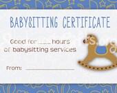 Items similar to Printable Babysitting Gift Certificate Blue Boy ...