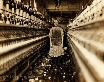 """Lewis Hine Photo """"Girl Spinner in Cotton Mill, Augusta, Georgia"""" 1909"""