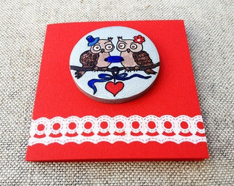 I love you gift Small wedding gift Anniversary gift Engagement gift Love gift Love birds greeting card Two owls love Wedding card