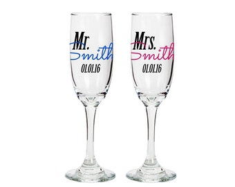 Mr and Mrs toasting glasses - personalized champagne glasses - bride and groom glasses - wedding toast - bridal shower gift ideas - one pair