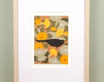 Blackbird in Summer Shower Giclée Print - Limited Edition
