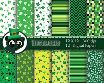 St. patrick's day digital paper for instant download. Green  papers background for scrap booking, greeting cards and crafts