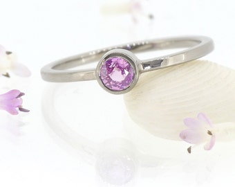 Pink Sapphire Engagement Ring - Eco-friendly - 18k White, Rose or Yellow Gold - Handmade to Size