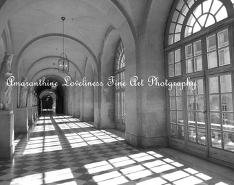 "Black and White Photography, Hallway in Versailles, Wall Art Photograph ""Hallway of Versailles"""