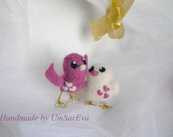 Needle Felted Birds- Love Birds-Wedding gift or decoration)