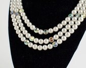 "1950'S Vintage 3-Strand Pearl & Cut Glass Aurora Borealis Beads NECKLACE Marked Japan 16"" To 19"" Adjustable Ladies Jewelry"