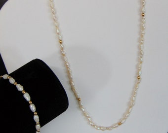 """Fresh Water Pearl And 14K Gold Beaded 18"""" NECKLACE & 7"""" BRACELET SET Solid 14K Gold Hardware Clasps Excellent Vintage Condition!"""