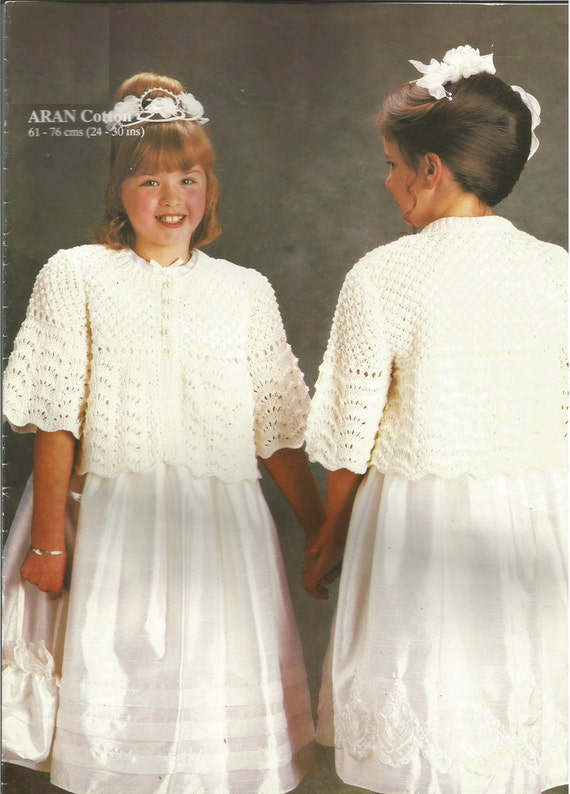 Knitting Pattern For Cape With Sleeves : Vintage Girls Communion Cardigan/ Cape with Sleeves Knitting PDF Pattern from...