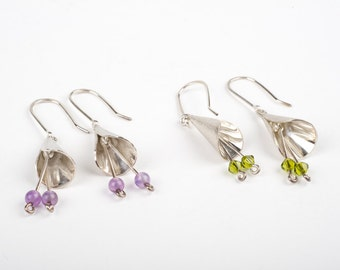 Fuschia style drop earrings in sterling silver.