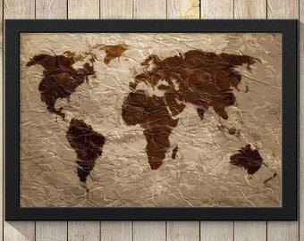 Rustic Tapestry World Map Art Print Wall Poster  - Giclee, Wrapped Canvas, Acrylic, or Metal