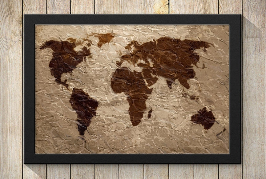 Rustic world map canvas wall art wooden canvas art print world map collection gumiabroncs Choice Image