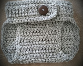 Handmade Grey Crochet Diaper Cover with Button